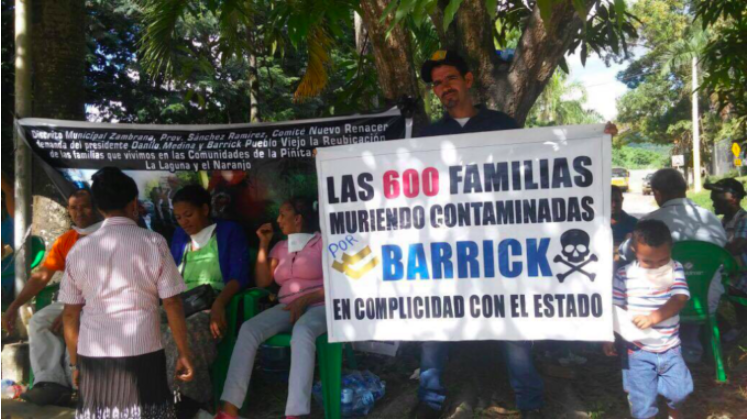 """600 families dying contaminated from Barrick in complicity with the state."" Photo provided by community member living next to Barrick and Goldcorp's Pueblo Viejo mine in the Dominican Republic."